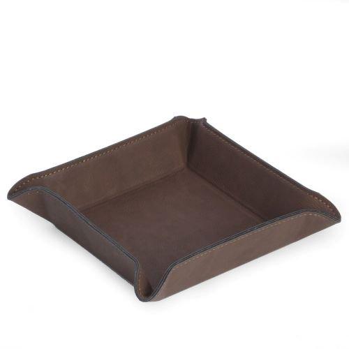 Bey-Berk Square Valet in Rustic Brown Leatherette