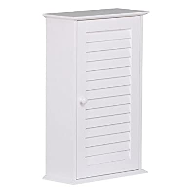 Topeakmart Bathroom/Kitchen Wall Mounted Single Louvered Door 3 Tier Adjustable Storage Shelf Medicine Cabinet/Cupboard