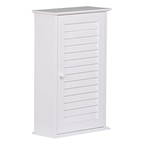 Topeakmart Bathroom/Kitchen Wall Mounted Single Louvered Door 3 Tier Adjustable Storage Shelf Medicine Cabinet/Cupboard