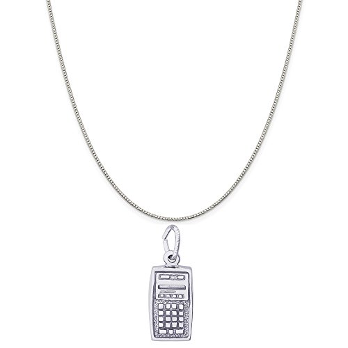 14k white gold calculator charm on a
