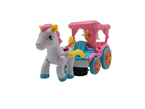 Forest & Twelfth Kids Flying Horse and Carriage Playset – Cute Pink Carriage Toy with Magical Flying and Galloping Horse Colorful Flashing Lights with Musical Melodies (Disney Carriage Cinderella)