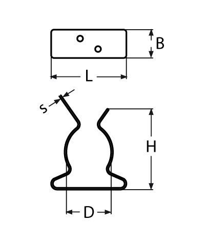 /37/mm Abrazadera Tenedor Remo Tubo Acero Inoxidable Barco Soporte de Gancho Di/ámetro 25/