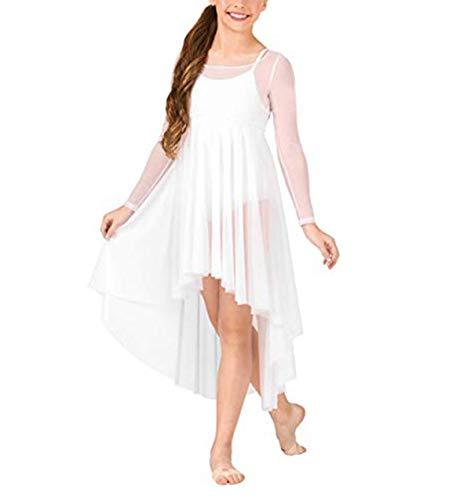 YiZYiF Kids Girls Lyrical Dance Pullover Long Sleeve Mesh Cover up Dress Handkerchief Cut 01 Pullover Dress White 8