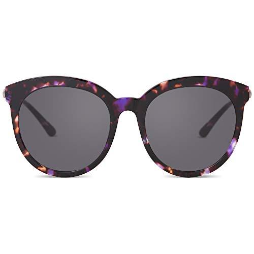 Polarized Cr Lenses Gray 39 - MUJOSH Oversize Sunglasses for Women Retro Round Designer Sunglasses 400 UV Protection CR39 Lens with Fashion Tortoise Acetate Frame, For Square face, Heart Face, Diamond face, Rectangle Face