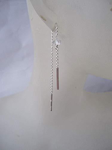 Herkimer Diamond Clear Quartz 925 Sterling Silver Threader Earrings,Total Length 9 cm,ECSBH