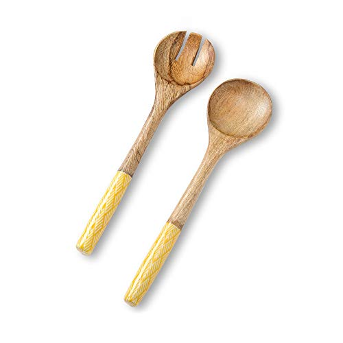 Yellow Salad Set - Salad Servers or Salad Tongs, Wooden Utensils for Serving Salad, 12-inch Spoon and Fork Set, Mango Wood, Yellow Servers