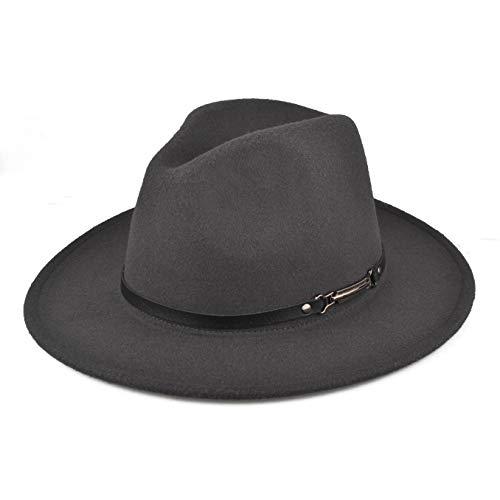 Felt Fedora Hat for Women/Men, Wide Brim Belt Buckle Panama Hat Fashion Sun Hat Top Hat Gray