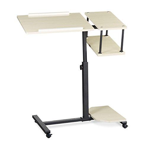 Relaxdays Laptoptisch höhenverstellbar XL HBT: 100 x 77 x 40 cm Großer Notebook Tisch als Sofatisch und Beistelltisch mit 4 bremsbaren Rollen für Tablet mit Mouse Ablage und Antirutsch-Leiste, creme