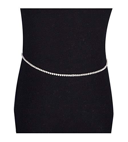 - Mooinn Crystal Rhinestone Waist Chain Silver Tone Link Chain Belt Belly Body Jewelry for Women