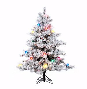 Vickerman Pre-Lit Flocked Alaskan Pine Tree with 200 Multicolored Dura-Lit and G50 Lights, 4.5-Feet, Flocked White on Green