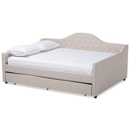 32b02c0b287b Amazon.com: Baxton Studio Eliza Tufted Queen Daybed with Trundle in Light  Beige: Kitchen & Dining