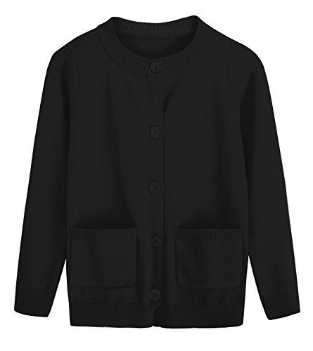 RJXDLT Girls Cardigan Knit Sweaters Long Sleeve Button Cotton Sweater 9-10Y Black by RJXDLT (Image #1)
