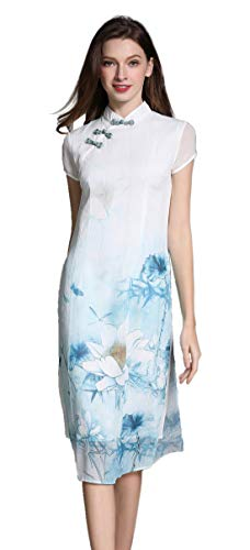 - Shineflow Women's Vintage Half Sleeve Landscape Painting Print Qipao Cheongsam Maxi Cocktail Dress ,White,Small