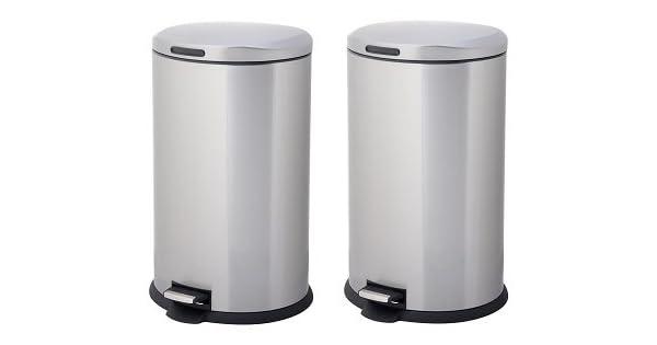WIS Cubo de Basura Redondo de Acero Inoxidable de 40 litros con Sensor autom/ático y sin Contacto Inducci/ón Mudo Bote de Basura Blanco
