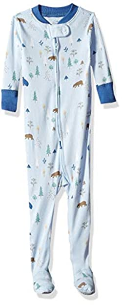 Moon and Back Girls' Organic One-Piece Footed Pajamas