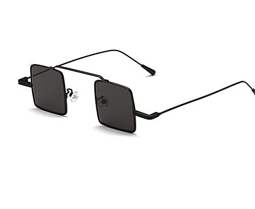 Hero Retro vintage small square box sunglasses reflective sunglasses super models explosive personality unisex (Black Color, Black - Hermes Mens Sunglasses