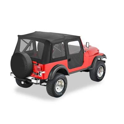 Top Hardware Soft (Bestop 51597-01 Black Crush Supertop Classic Replacement Soft Top with Clear Windows; 2-pc. Full Doors for 1976-1983 Jeep CJ-5)