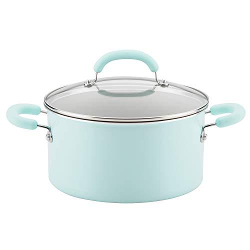 Rachael Ray 12165 6-Qt Aluminum Stockpot, 6 Quart, Light Blue Shimmer
