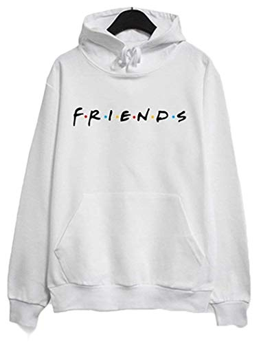 Joeoy Women's White Casual Loose Cotton Blend Letter Print Friends Hoodie Pullover Tops-M