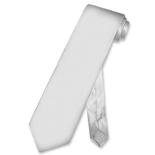 Biagio 100% SILK NeckTie EXTRA LONG Solid SILVER GREY Color Men's XL Neck Tie