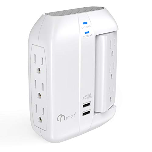 ONSMART Wall Tap Swivel Surge Protector 6-Outlet Power Strip 2 USB Charger, Portable Wall-Mount Socket, Smart Charging for Home, The Office, Travel