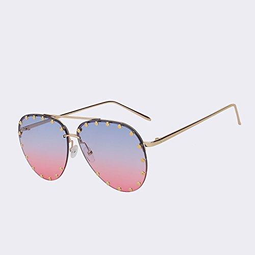 de W gafas Diseñador de gafas reborde Oculos Mujer marrón sol gafas El marca calidad TIANLIANG04 UV400 de cristalino la sin del de sol pink para de superior blue mujer Silver w oro de moda mar Vintage de wznC0q