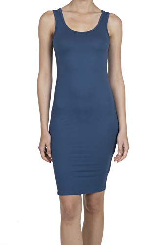 9069 Women's Jersey Sleeveless Scoop Neck Bodycon Midi Tank Dress Blue S