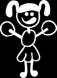 Cheerleader Stick Figure Family stick em up White vinyl Die Cut vinyl Decal sticker for any smooth surface