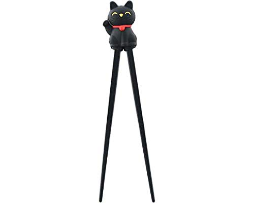 Happy Sales HSTC-LKCBLK, Training chopsticks for kids adults and beginners right or left handed, Black Cat