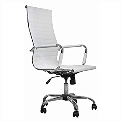 K&A Company Office Chair, White Leather Office Chair High Back