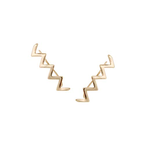 Humble Chic Geometric Ear Climbers - Zig Zag, Triangle, Chevron, Solid Bar Stud Cuff Crawler Earrings