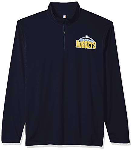(NBA Denver Nuggets Men's Quarter Zip Pullover Shirt Athletic Quick Dry Tee, X-Large, Navy)