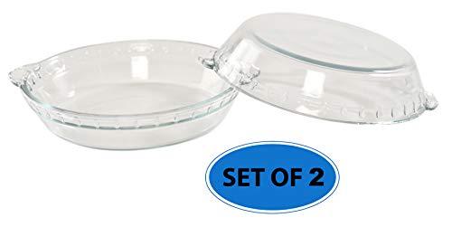 HOME-X Pie Bakeware Set of 2, Glass Baking Accessories, 7