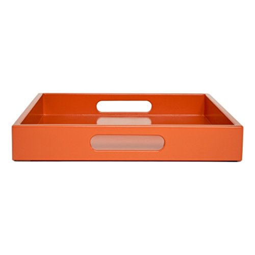 Large Coffee Table Ottoman Tray with Handles Orange