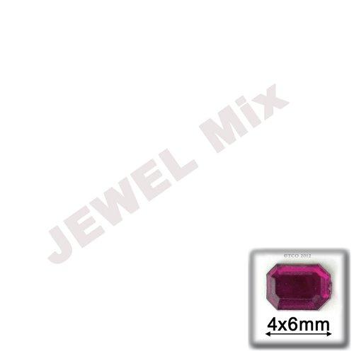 工芸のアウトレット288-piece品質アクリルアルミ箔フラットバックOctagon長方形ラインストーン、4by 6mm、ジュエルトーンAssortment