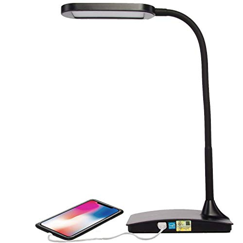 (TW Lighting IVY-40BK The IVY LED Desk Lamp with USB Port, 3-Way Touch Switch, Black)