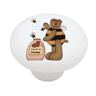Bee Knob (Bumble Bee Honey Bear High Gloss Ceramic Drawer Knob)