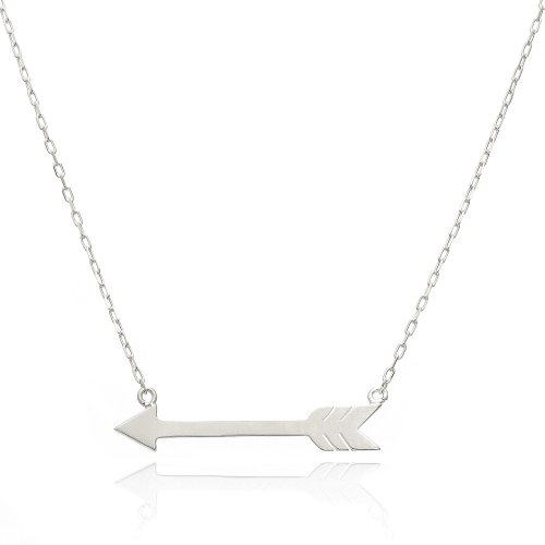 14K White Gold Fancy Arrow Necklace (18 Inches, Elongated Cable Chain)