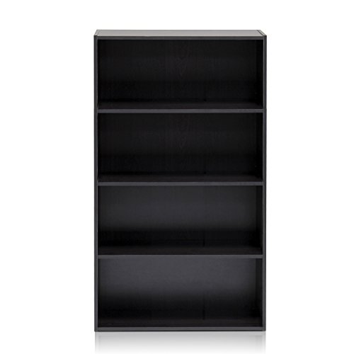 Furinno 11209EX Pasir 4 Tier Open Shelf, Espresso 4 Drawer Dresser Honey