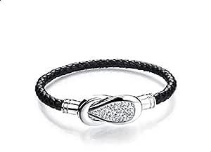 Black Silver Infinity Leather Bracelet Bangle