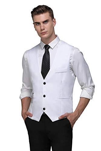 - PXS Vest V-Neck Sleeveless Slim Fit Jacket Men Business Waistcoat (White, L)