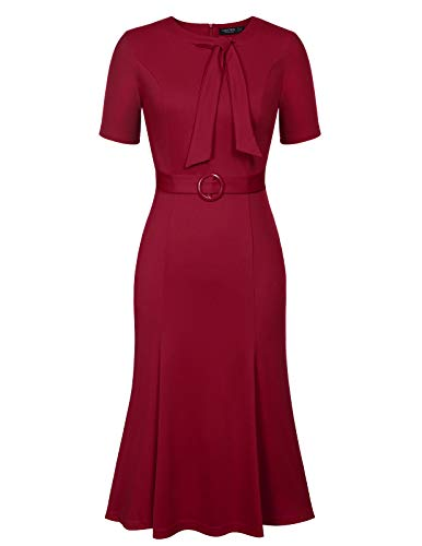 Women's Crew Neck Peplum Tie Knee Length Party Pencil Dress Red Size XL