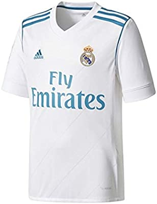 adidas Camiseta Real Madrid 17/18 Blanco/Turquesa Niño: Amazon.es: Deportes y aire libre