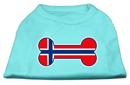 (Mirage Pet Products 20-Inch Bone Shaped Norway Flag Screen Print Shirts for Pets, 3X-Large, Aqua)