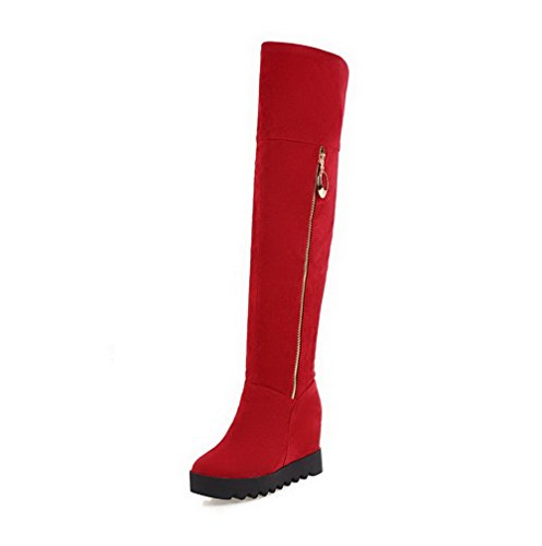 AgooLar Women's Round Closed Toe High-Heels Frosted High-top Solid Boots Red