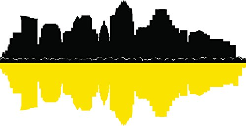 Chic Walls Removable Austin City Skyline Buildings & Shadow Wall Art Home Décor Decal Vinyl Sticker Bedroom Living Room Kitchen Office Black & Yellow 70