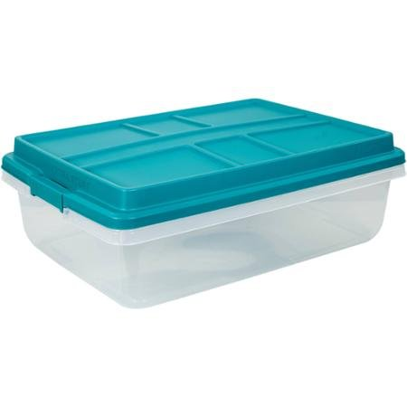 Hefty 40-Qt Hi-Rise Clear Latch Box, Teal Sachet Lid and Handles (1)
