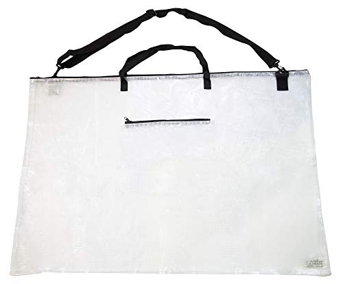 Multipurpose Zippered Storage Bag for Poster Board, Posters, Art, Bulletin Board, Charts, Tri-Fold Science Project, and Documents with Outer Pocket and Shoulder Strap (25x37) ()