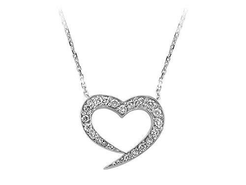 Collier Coeur de Diamant-Femme- or Blanc 223P0009