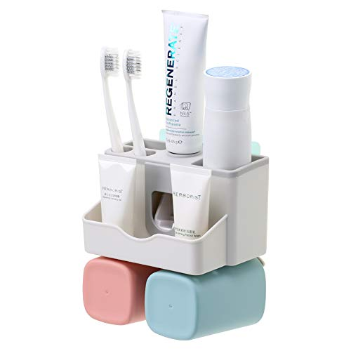 - SULKADA Toothbrush Holder Wall Mount 2 Cups, with Toothpaste Dispenser,Multi-Functiona Bathroom Storage Organizer Stand Rack